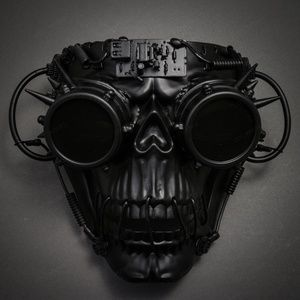 Metallic Steampunk Skull Masquerade Full Face Mask